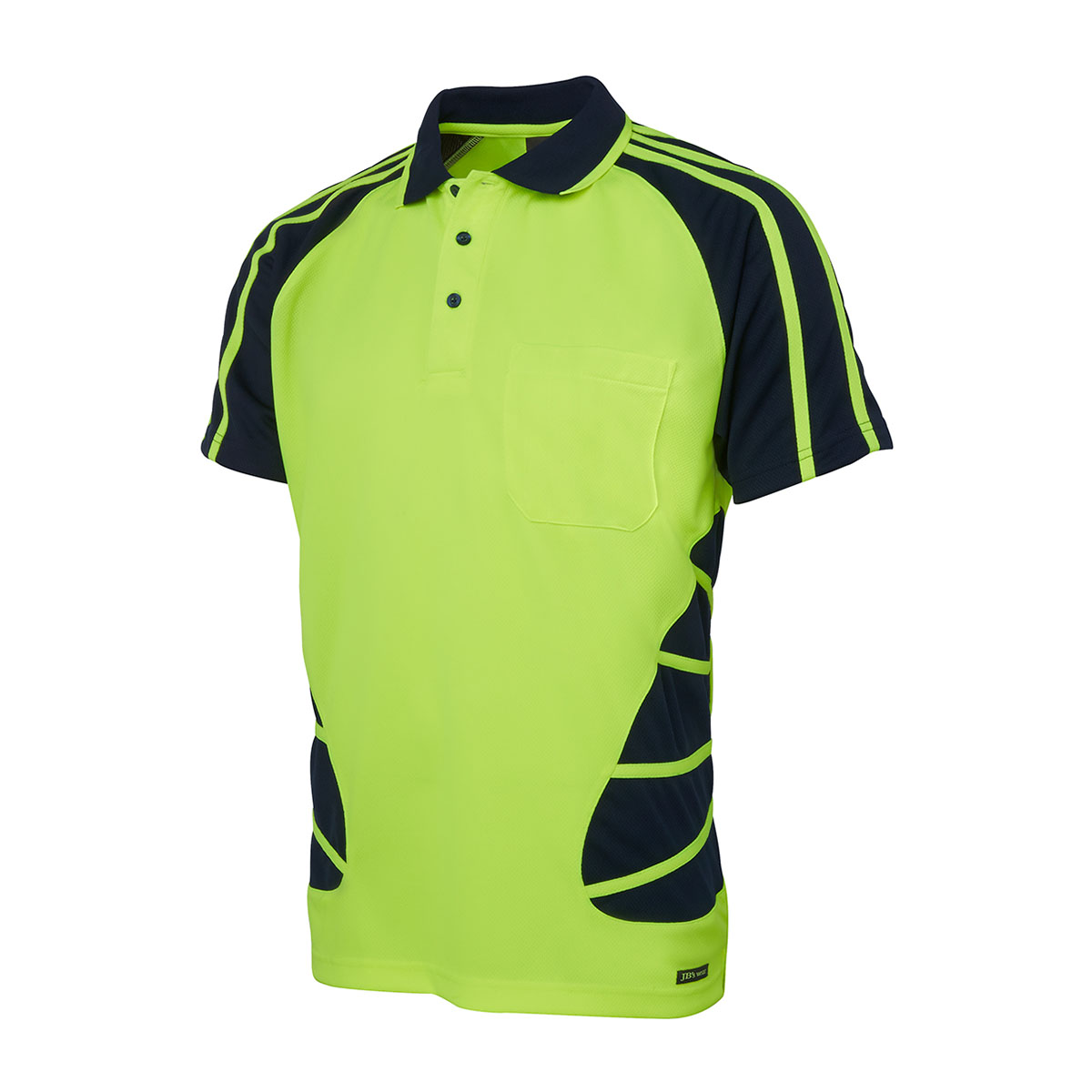 Hi Vis S/S Spider Polo-Lime  /  Navy