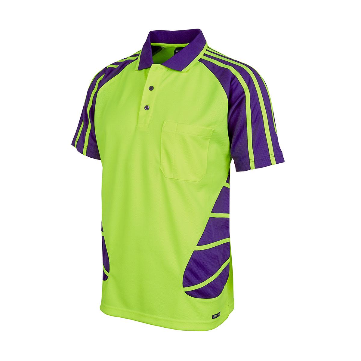 Hi Vis S/S Spider Polo-Lime  /  Purple
