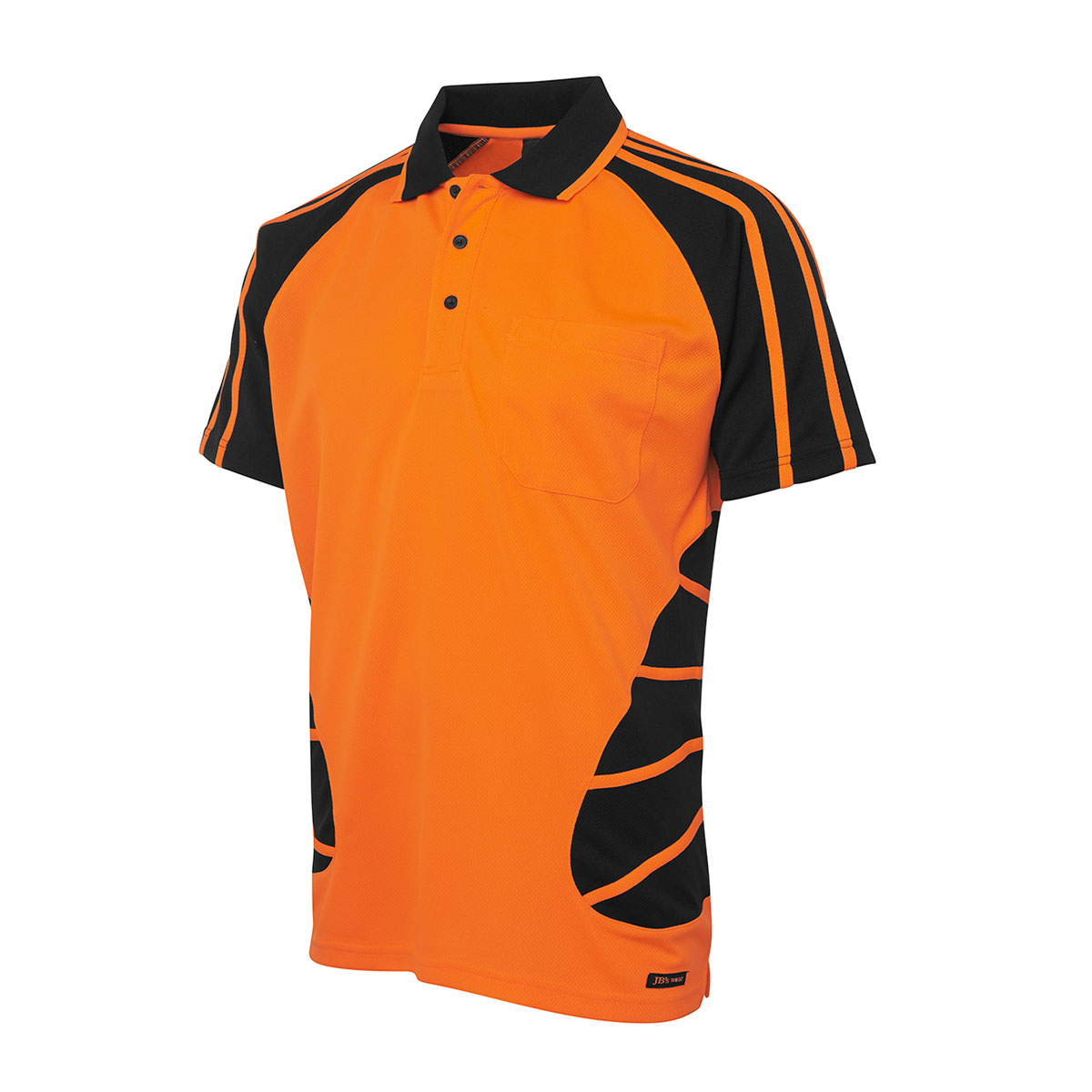 Hi Vis S/S Spider Polo-Orange  /  Black