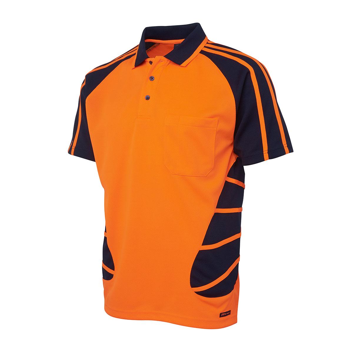 Hi Vis S/S Spider Polo-Orange  /  Navy