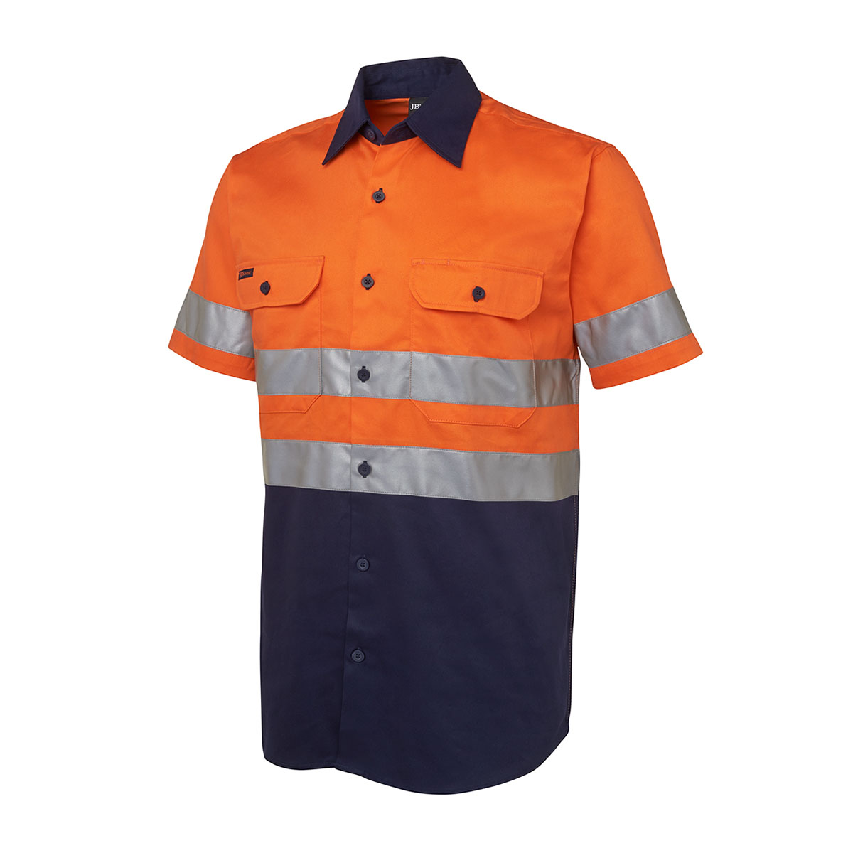 Hi Vis (D+N) S/S 190G Shirt-Orange  /  Navy