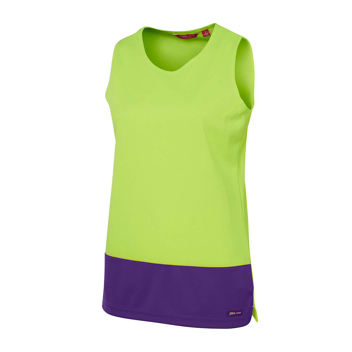 HV Ladies Trad Singlet-Lime  /  Purple