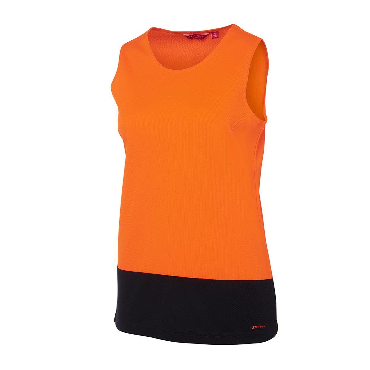 HV Ladies Trad Singlet-Orange  /  Navy