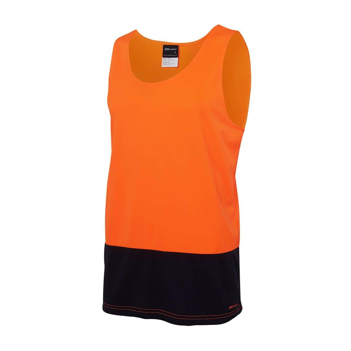 Hi Vis Traditional Singlet-Orange  /  Navy
