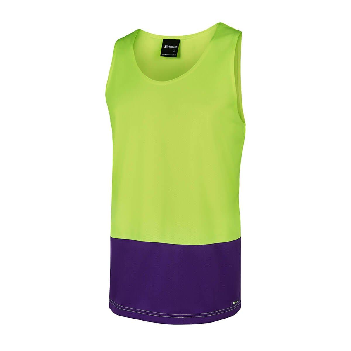 Hi Vis Traditional Singlet-Lime  /  Purple