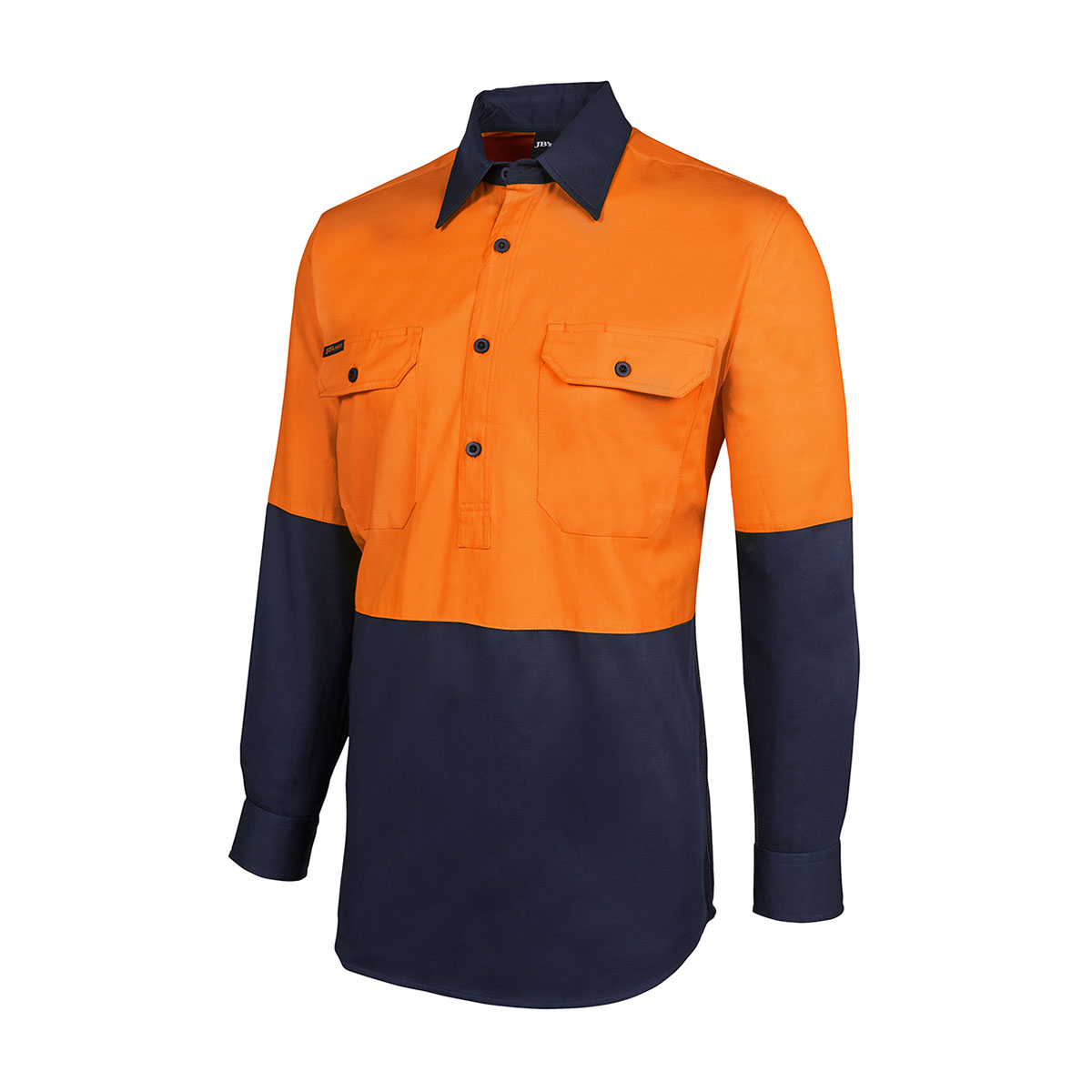 HV Close Front L/S 190G Shirt-Orange  /  Navy