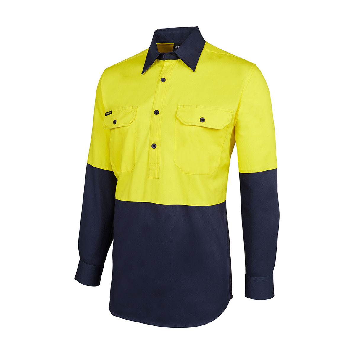 HV Close Front L/S 190G Shirt-Yellow  /  Navy
