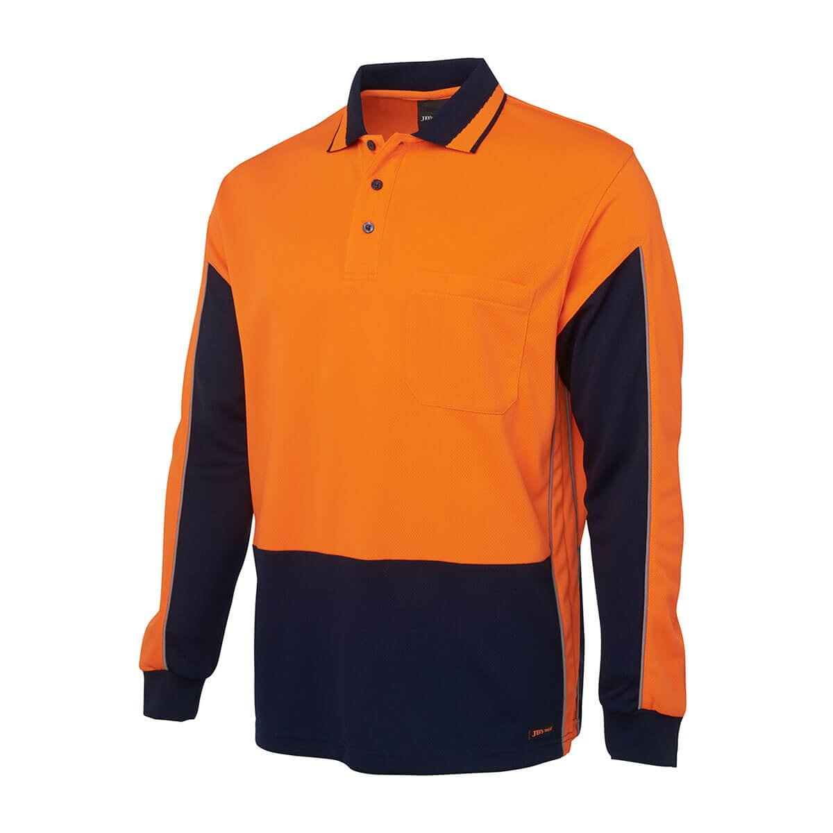 Hi Vis L/S Gap Polo-Orange  /  Navy