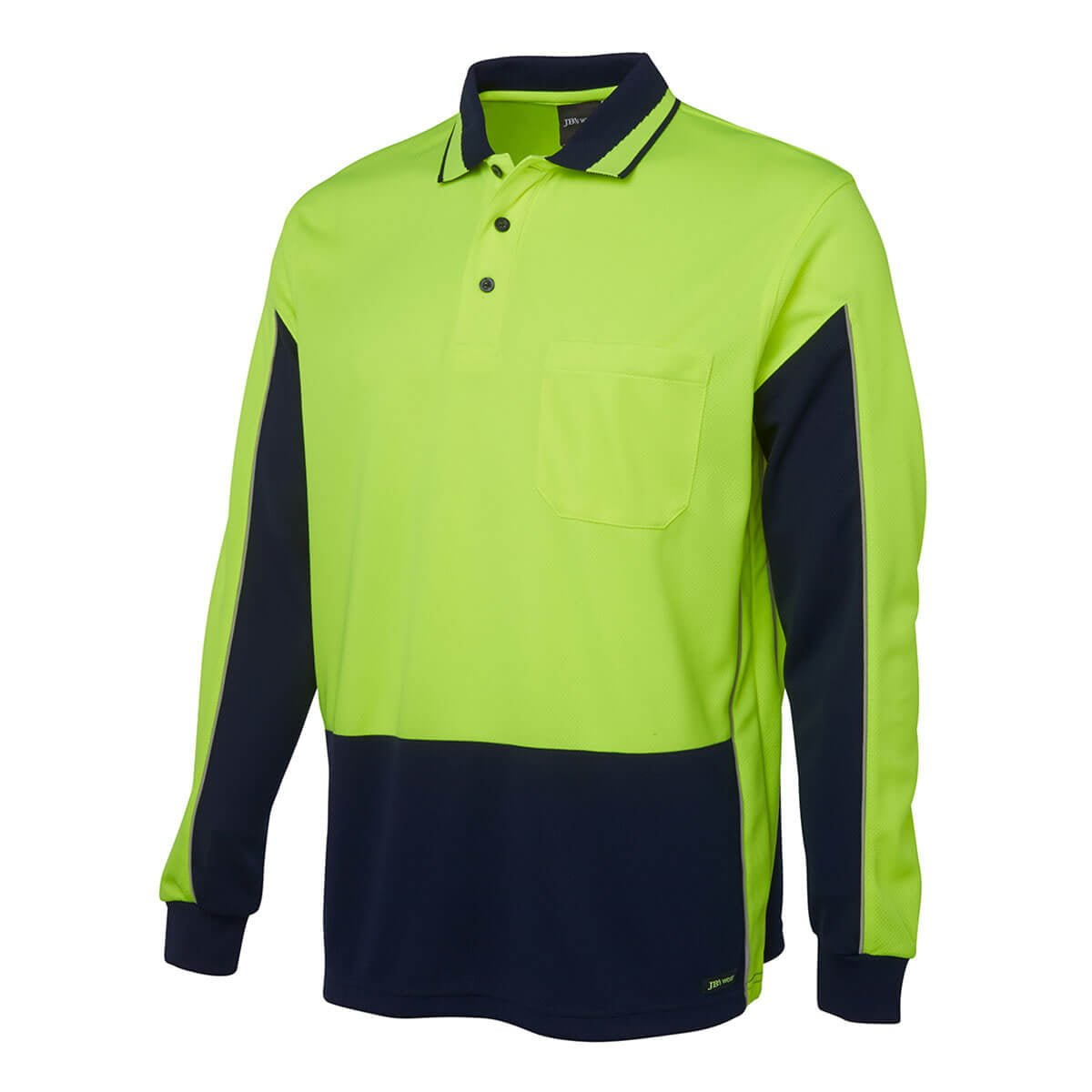 Hi Vis L/S Gap Polo-Lime  /  Navy