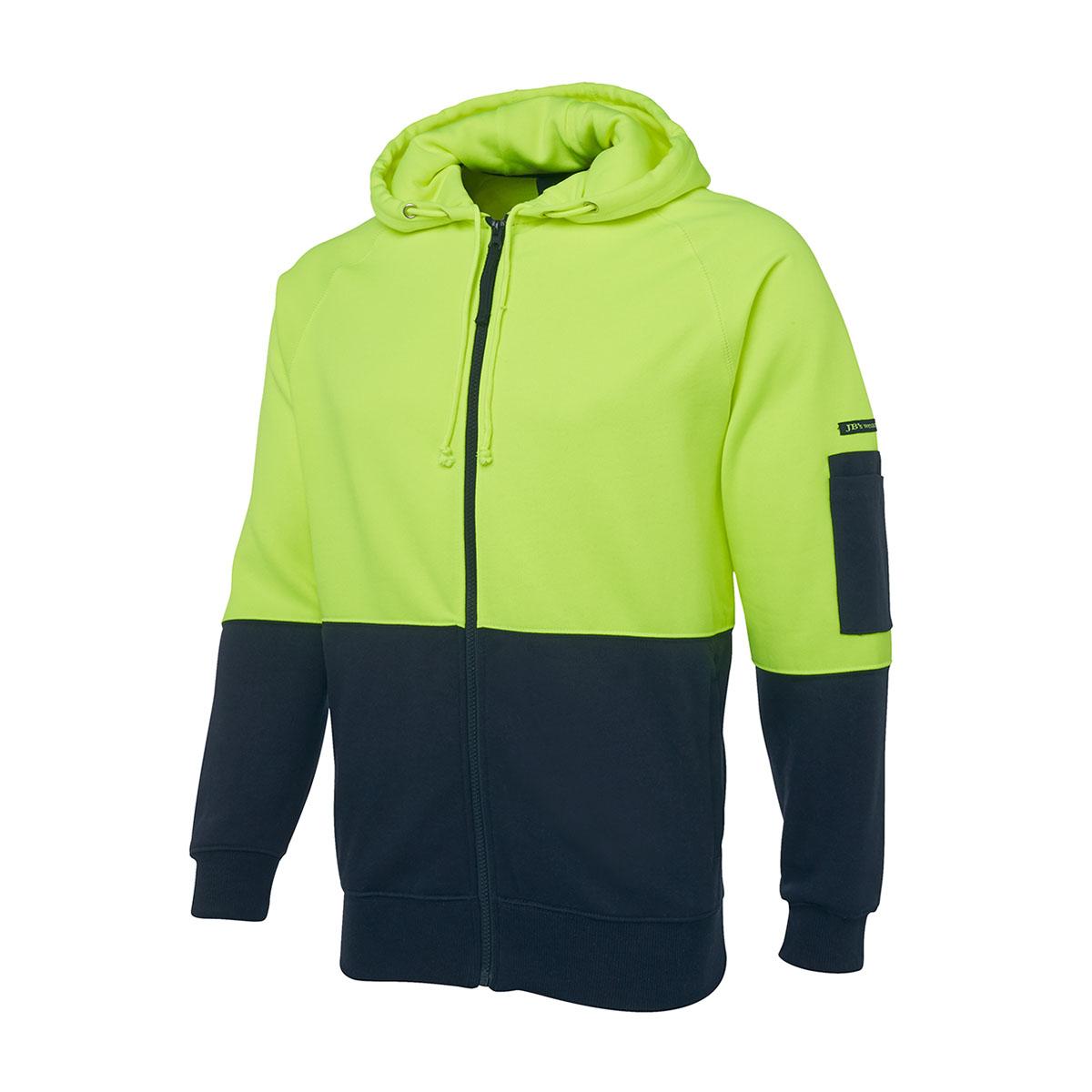 Hi Vis Fleecy Hoodie-Lime  /  Navy