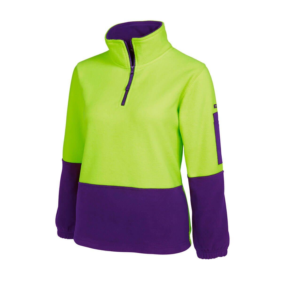 HV Ladies 1/2 Zip Polar-Lime  /  Purple