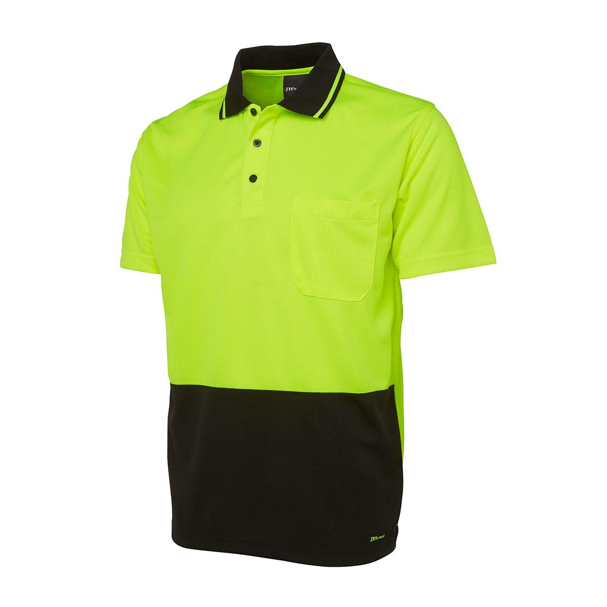 Hi Vis 4602.1 Non Cuff Trad Polo-Lime  /  Black
