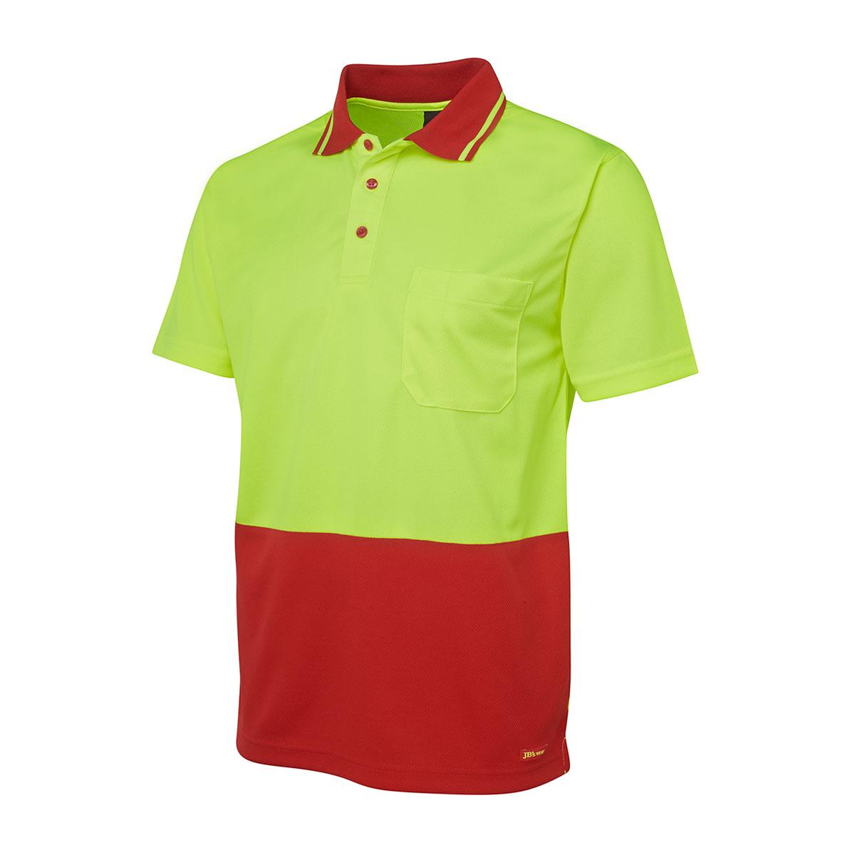 Hi Vis 4602.1 Non Cuff Trad Polo-Lime  /  Red