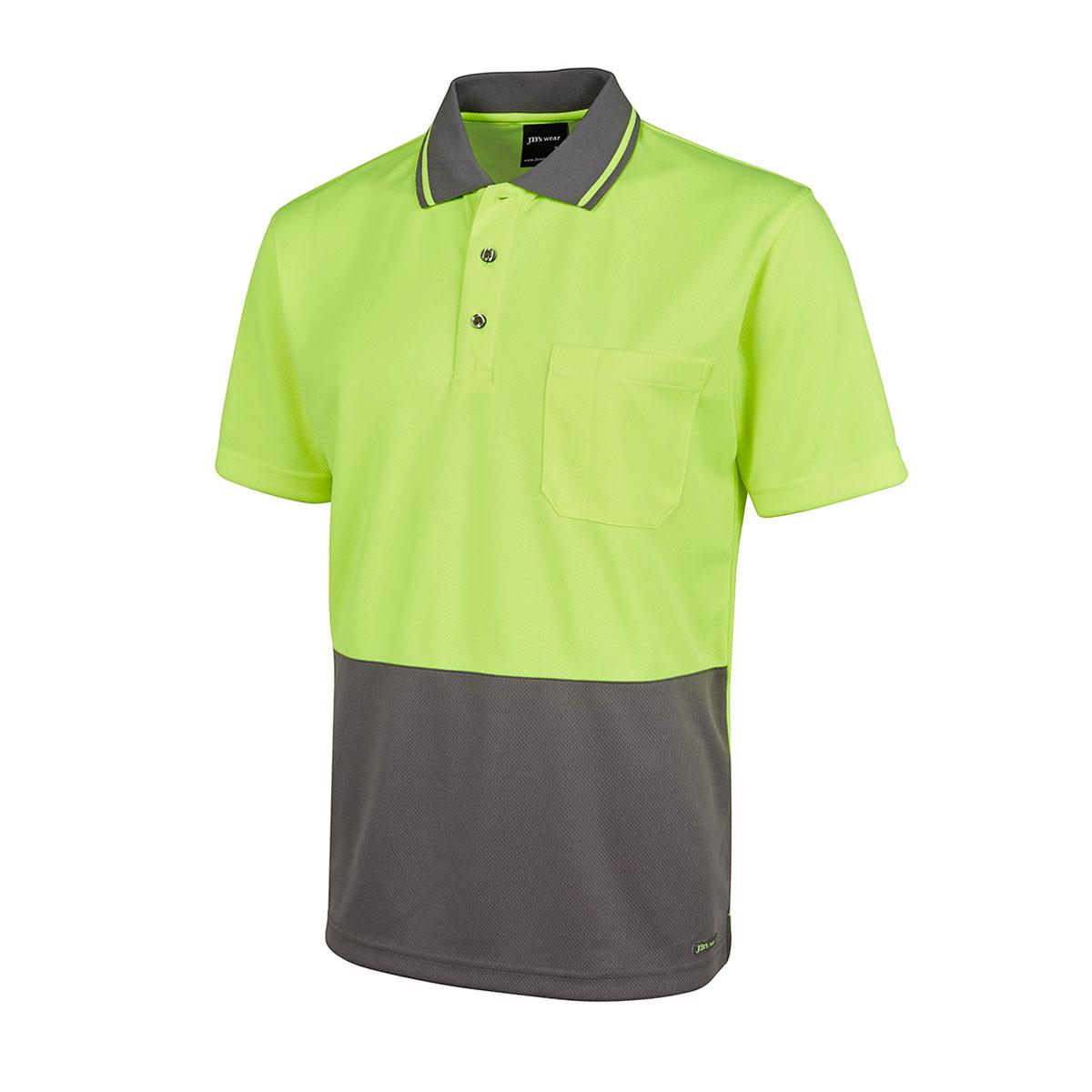 Hi Vis 4602.1 Non Cuff Trad Polo-Lime  /  Charcoal