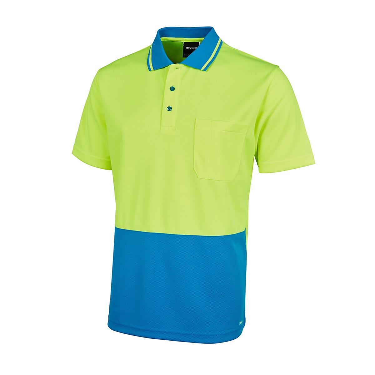 Hi Vis 4602.1 Non Cuff Trad Polo-Lime  /  Aqua