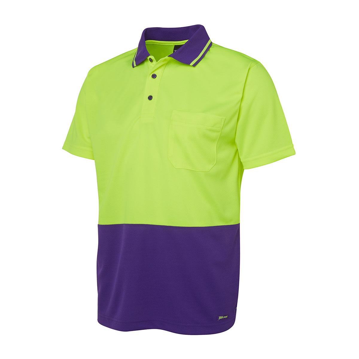 Hi Vis 4602.1 Non Cuff Trad Polo-Lime  /  Purple