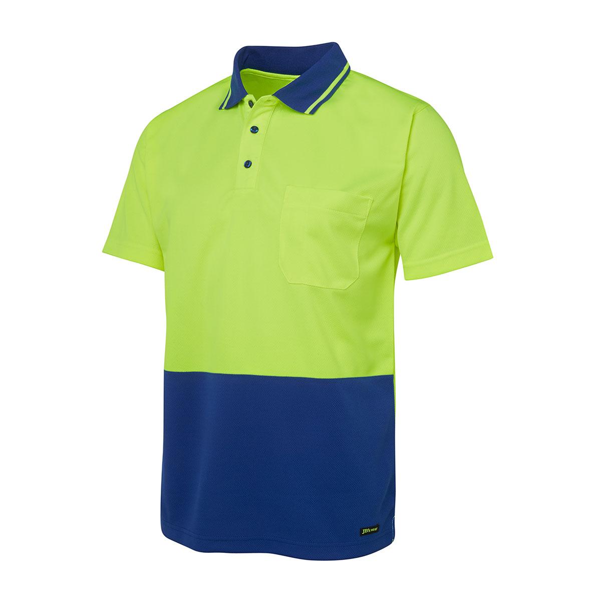 Hi Vis 4602.1 Non Cuff Trad Polo-Lime  /  Royal