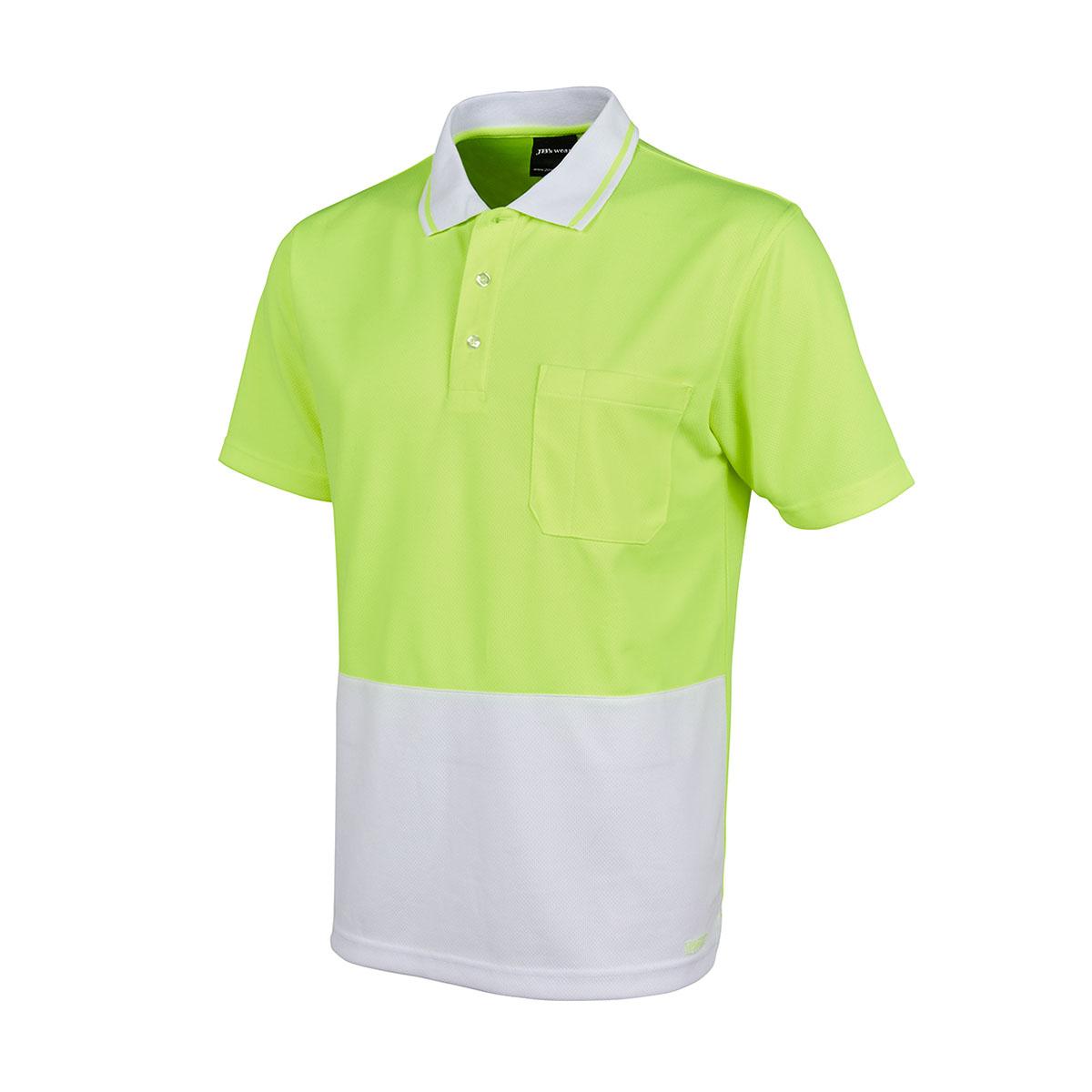 Hi Vis 4602.1 Non Cuff Trad Polo-Lime  /  White