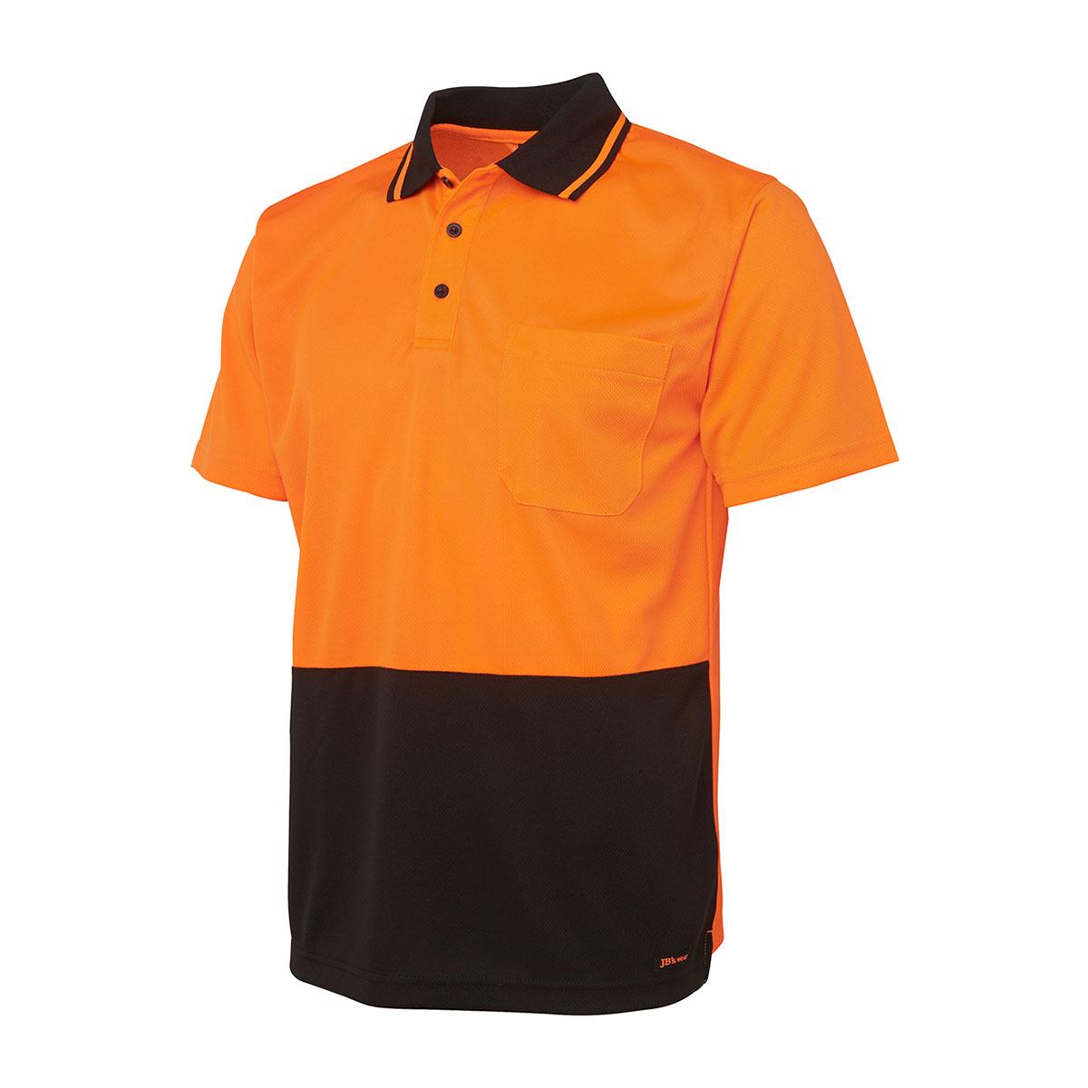 Hi Vis 4602.1 Non Cuff Trad Polo-Orange  /  Black