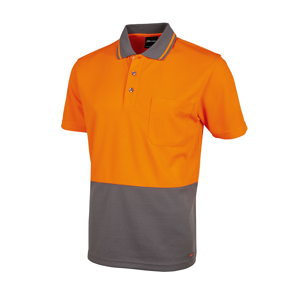 Hi Vis 4602.1 Non Cuff Trad Polo-Orange  /  Charcoal
