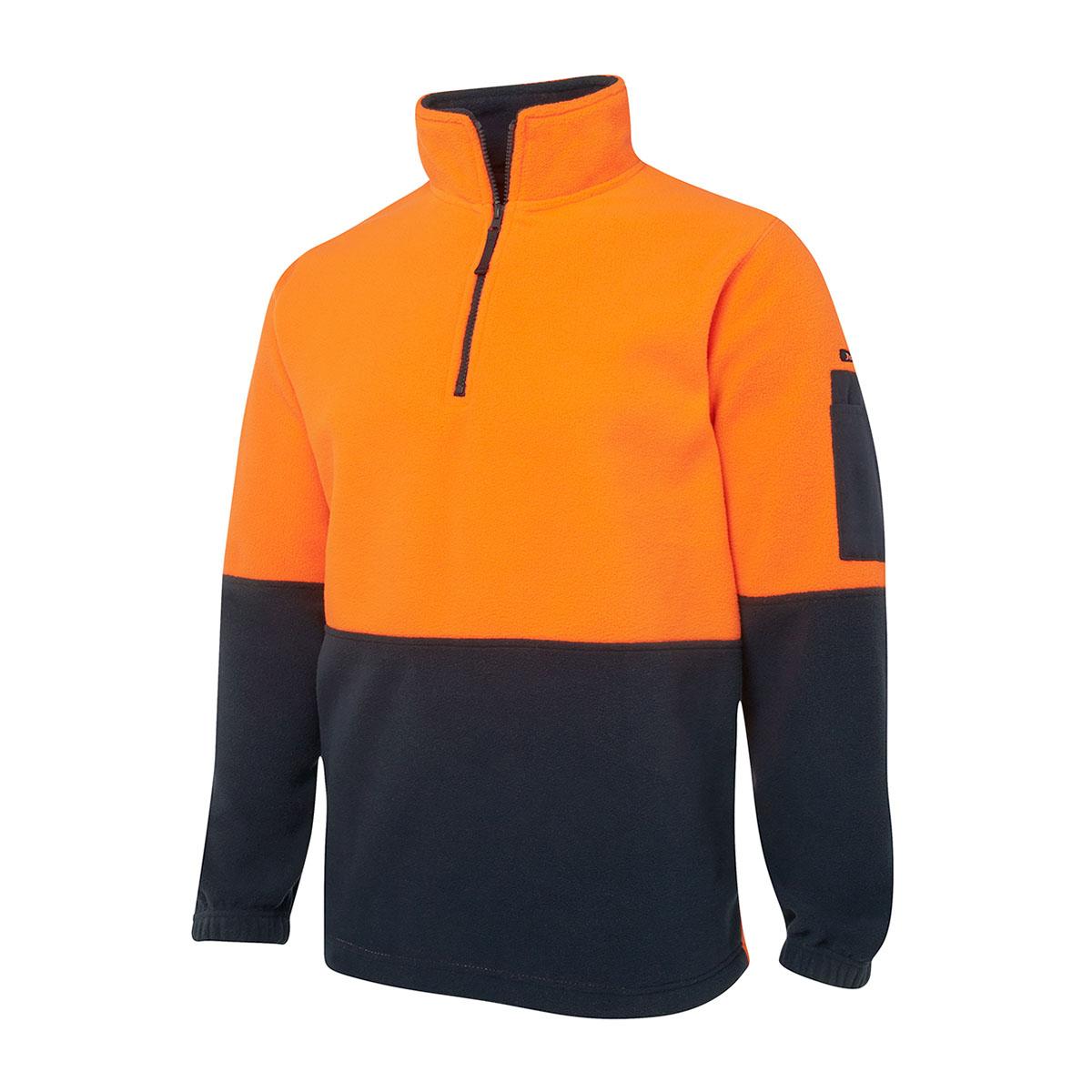 Hi Vis 1/2 Zip Polar Fleece-Orange  /  Navy