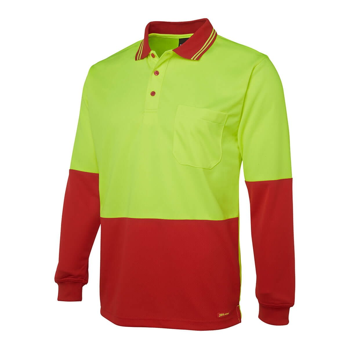 Hi Vis L/S Trad Polo-Lime  /  Red