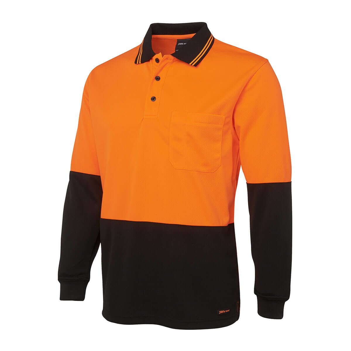 Hi Vis L/S Trad Polo-Orange  /  Black