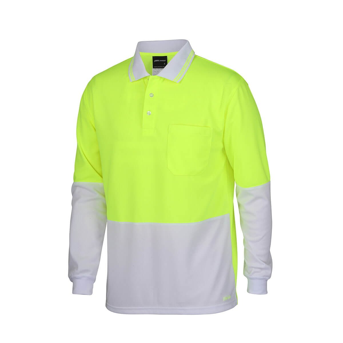 Hi Vis L/S Trad Polo-Lime  /  White