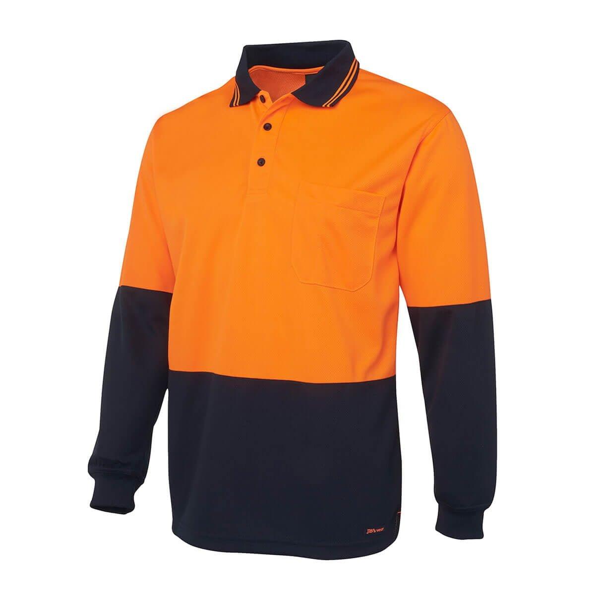 Hi Vis L/S Trad Polo-Orange  /  Navy