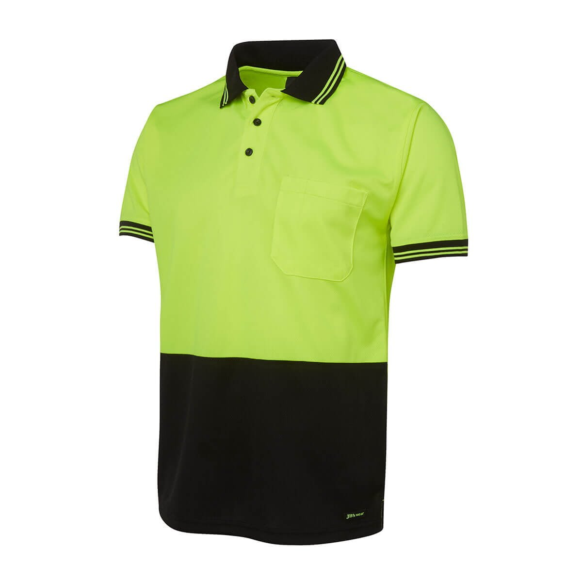 Hi Vis S/S Traditional Polo-Lime  /  Black