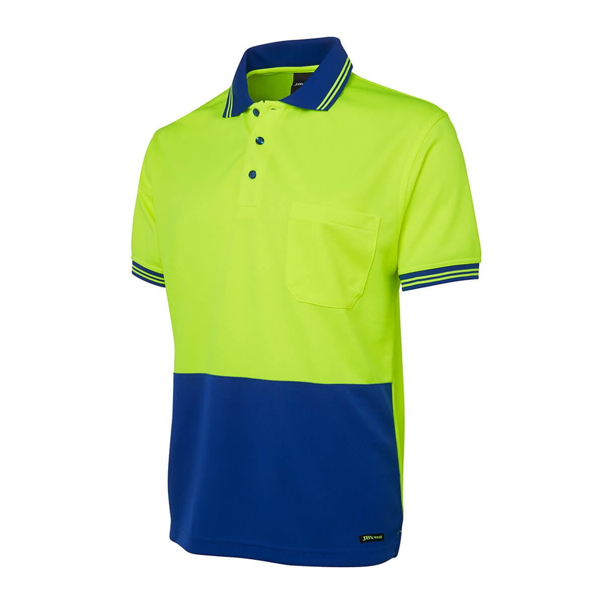 Hi Vis S/S Traditional Polo-Lime  /  Royal