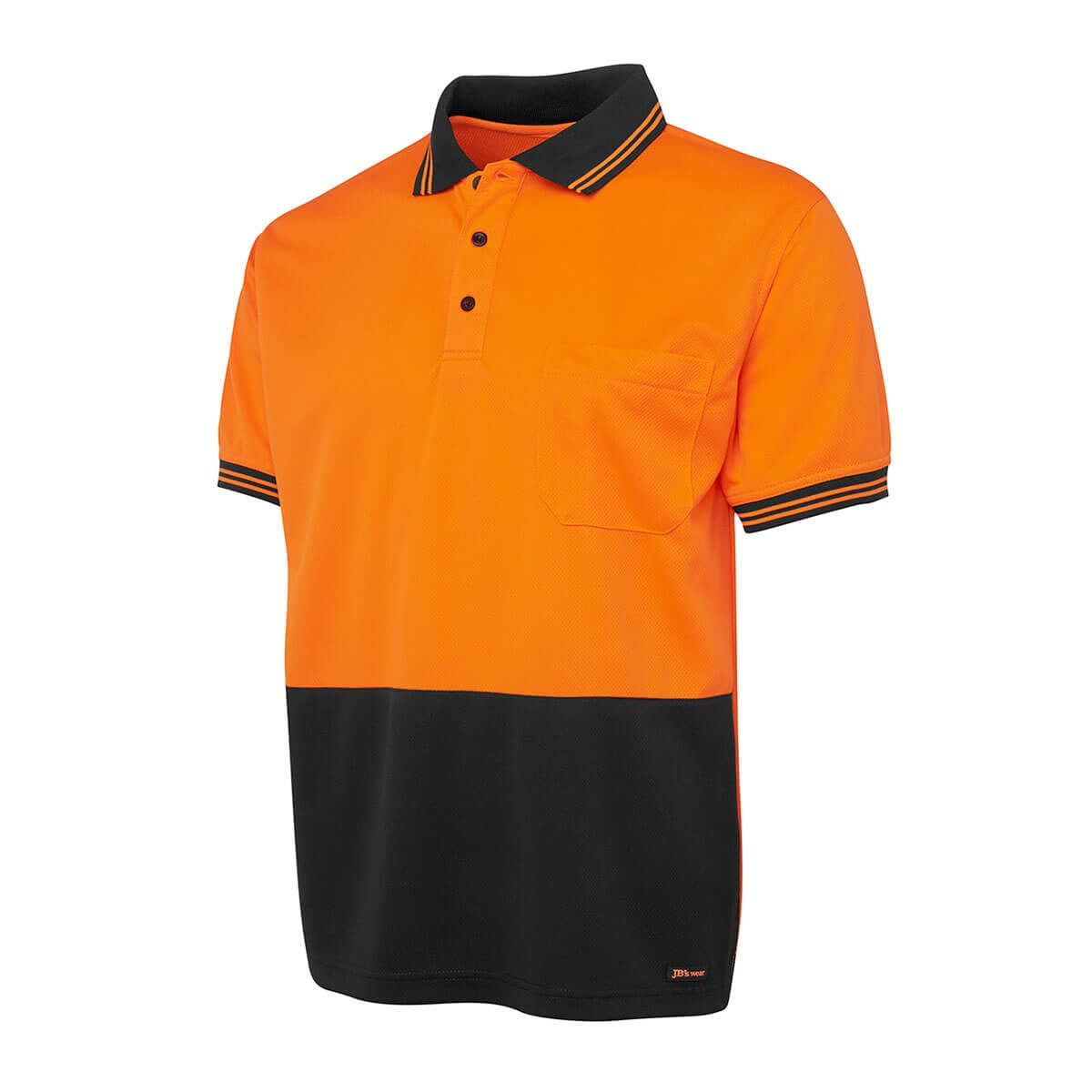 Hi Vis S/S Traditional Polo-Orange  /  Black