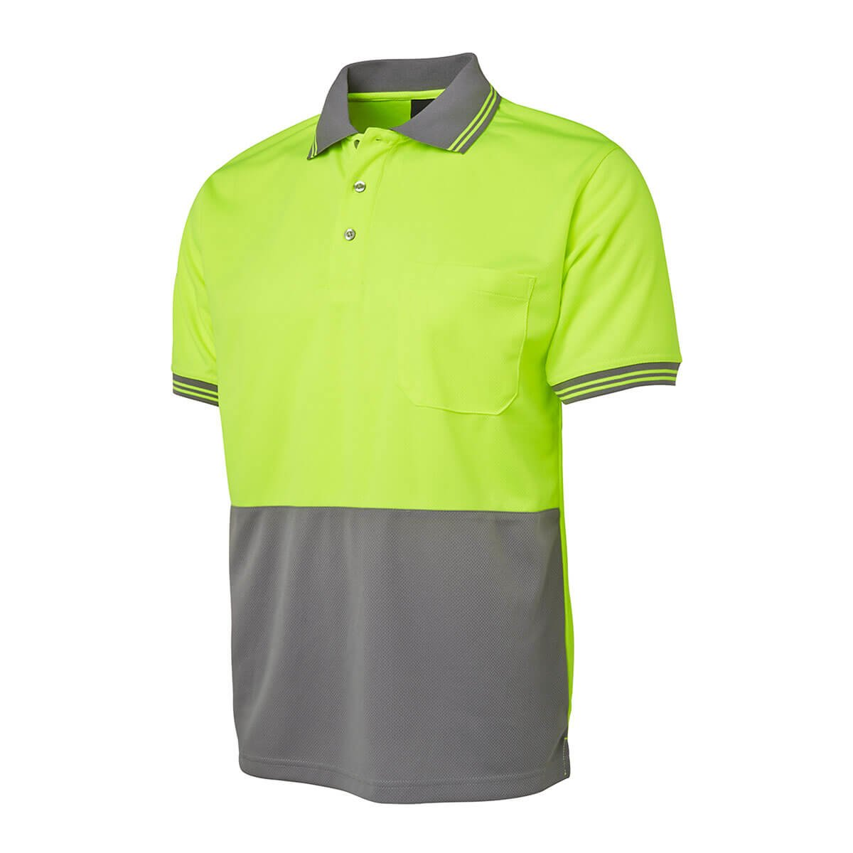 Hi Vis S/S Traditional Polo-Lime  /  Grey