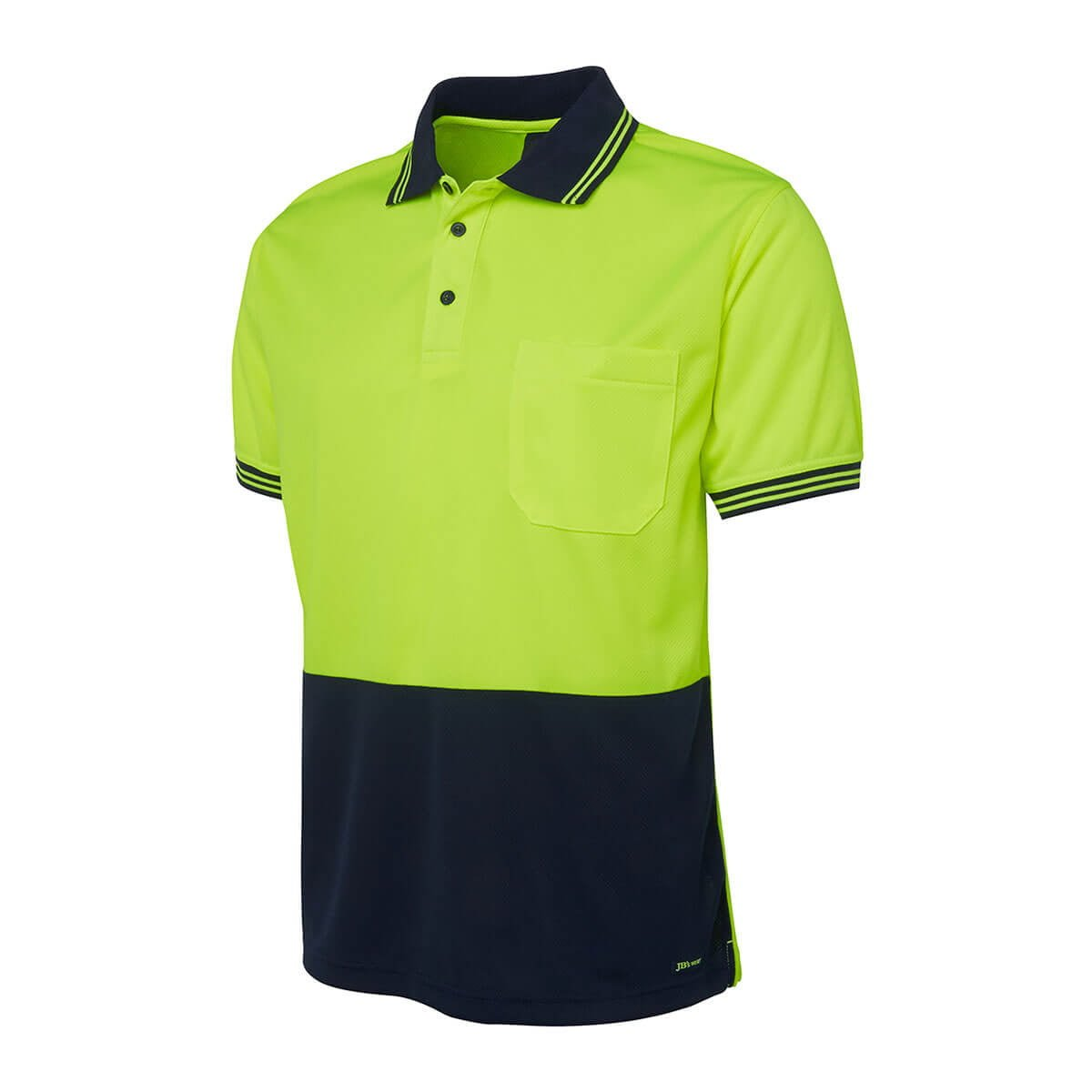 Hi Vis S/S Traditional Polo-Lime  /  Navy