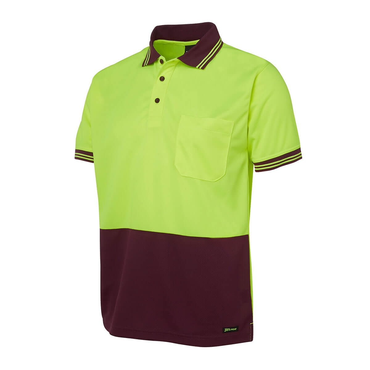 Hi Vis S/S Traditional Polo-Lime  /  Maroon