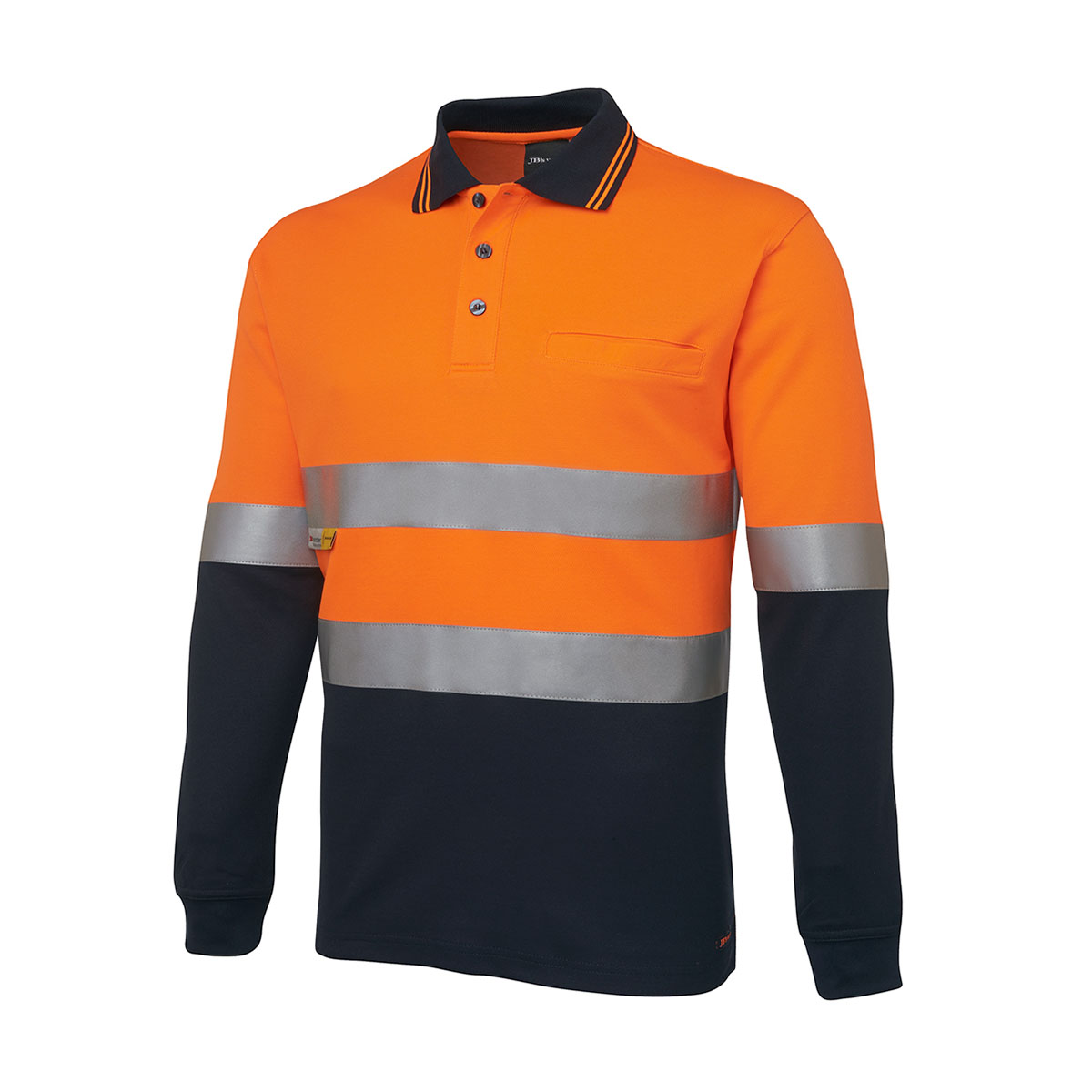 Hi Vis L/S (D+N) Trad Polo-Orange  /  Navy