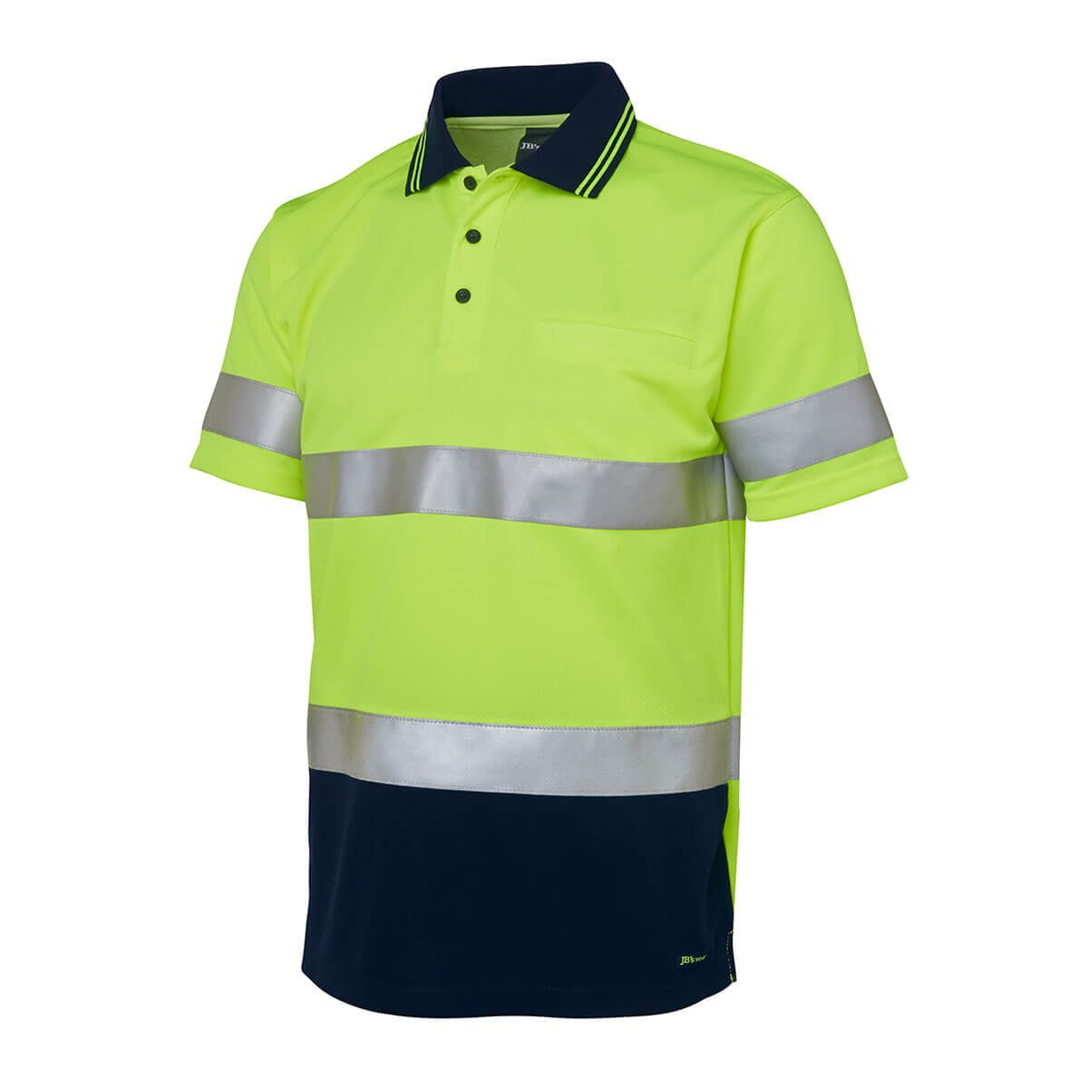 Hi Vis S/S (D+N) Trad Polo-Lime  /  Navy