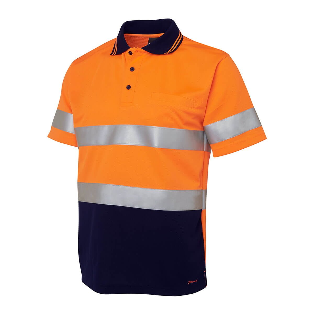Hi Vis S/S (D+N) Trad Polo-Orange  /  Navy