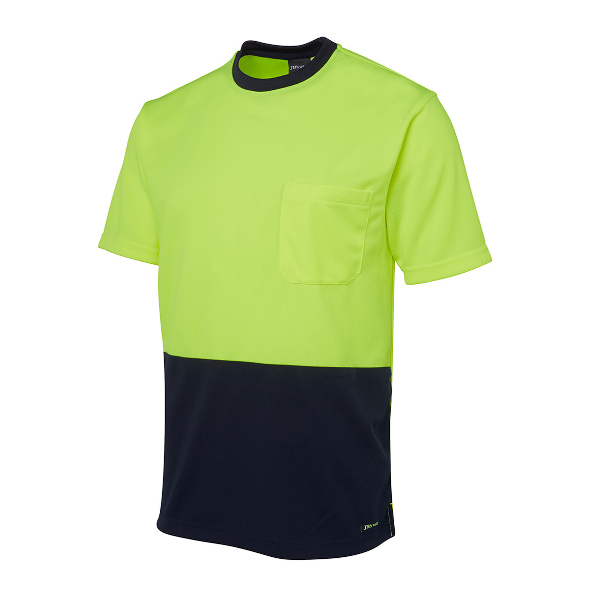 Hi Vis Traditional T-Shirt-Lime  /  Navy