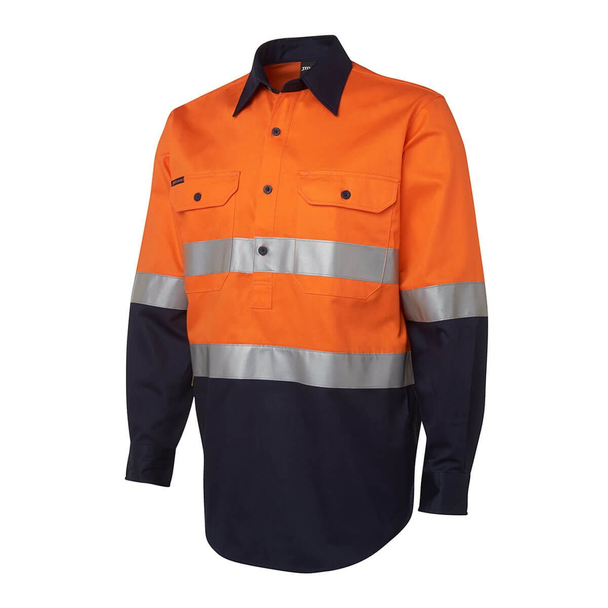 Hi Vis (D+N) Close Front L/S Shirt-Orange  /  Navy