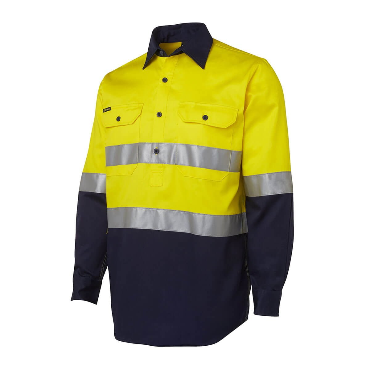 Hi Vis (D+N) Close Front L/S Shirt-Yellow  /  Navy