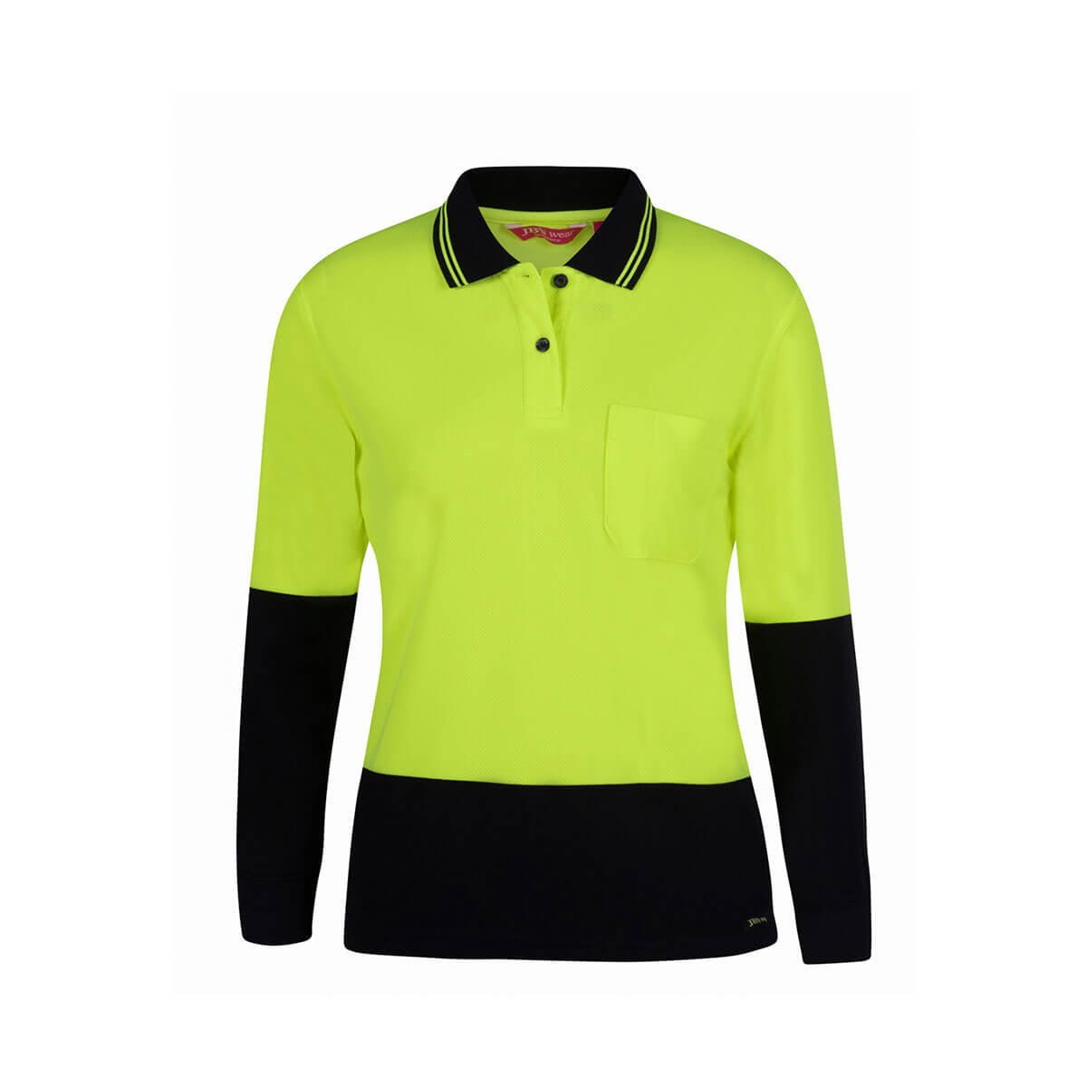 Ladies Hi Vis L/S Comfort Polo-Lime  /  Navy