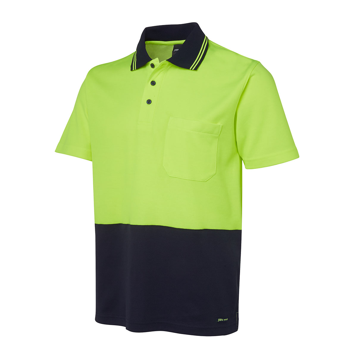 HV Non Cuff S/S Cotton-Lime  /  Navy