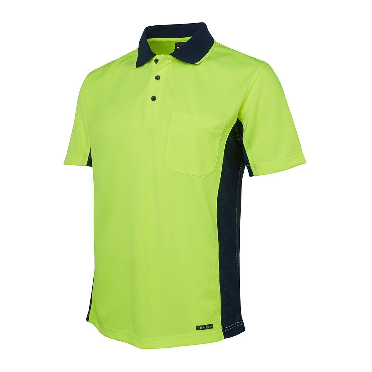 Hi Vis S/S Sport Polo-Lime  /  Navy