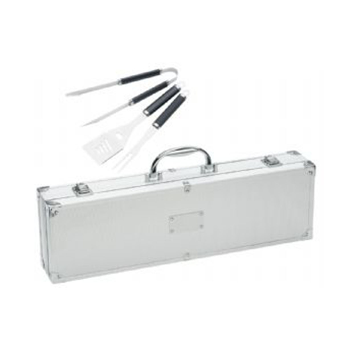 Stainless Steel BBQ Set Case-Silver.