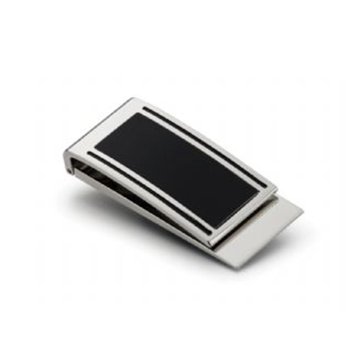 Metal Money Clip-Silver with Black.