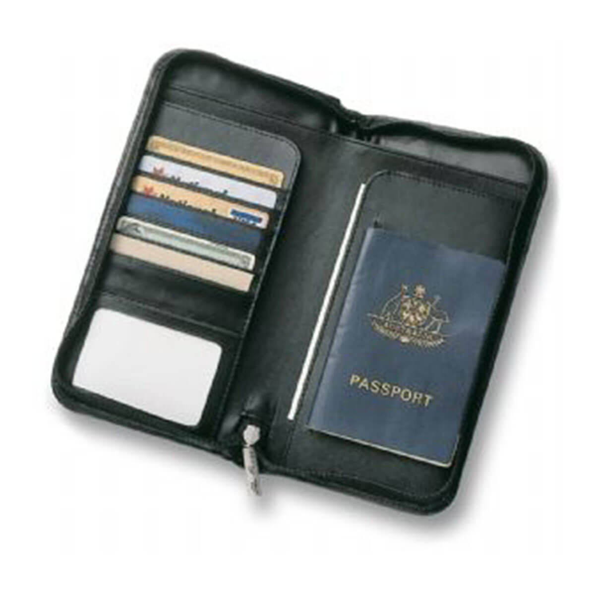 Leather Travel Wallet-Black.