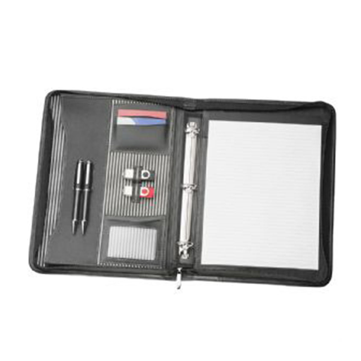 A4 Zippered Compendium with Removable 3 Ring Bind-Black