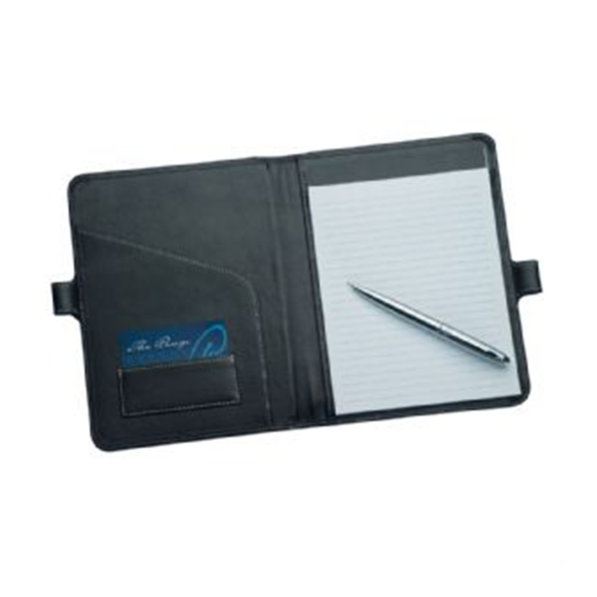 A5 Leather Pad Cover with Pen Closure-Black.