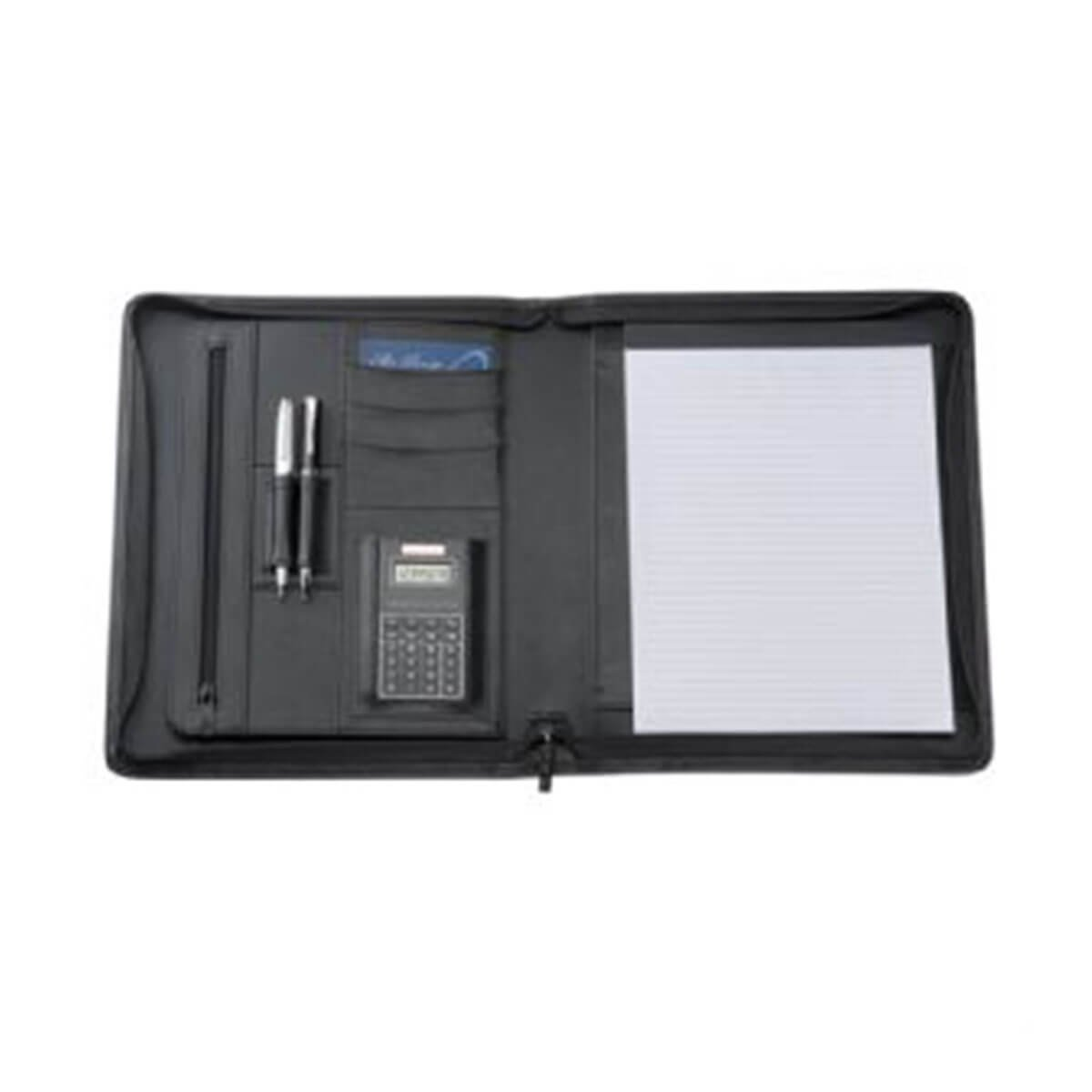 A4 Bonded Leather Compendium-Black.